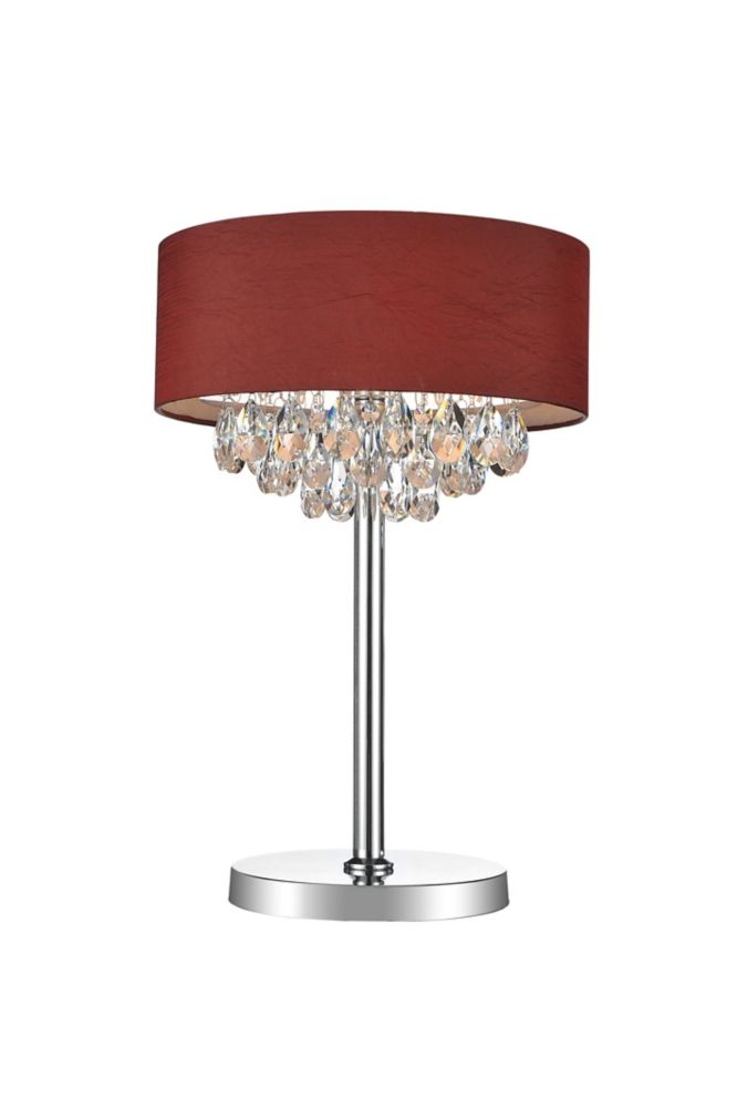 3 Light Table Lamp With Wine Red Shade