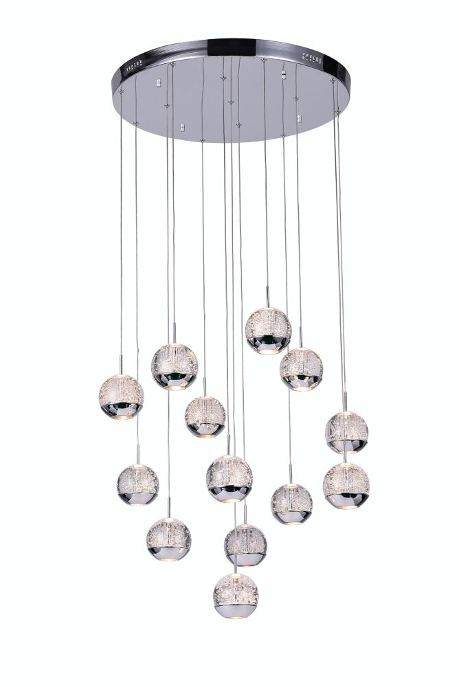 13 Light Chandelier With Chrome Round Base