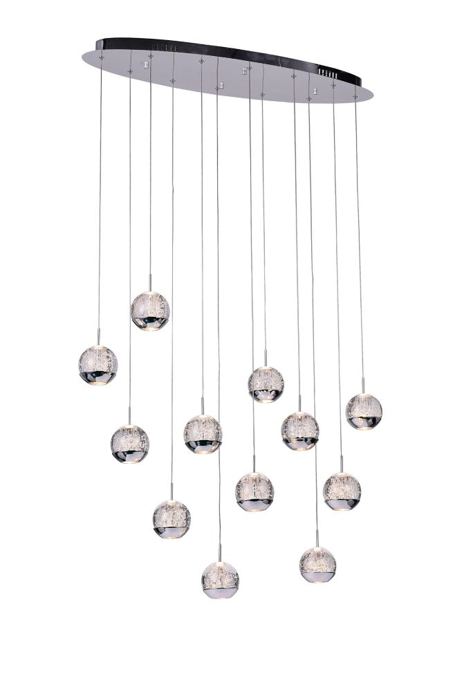 12 Light Chandelier With Chrome Oval Base