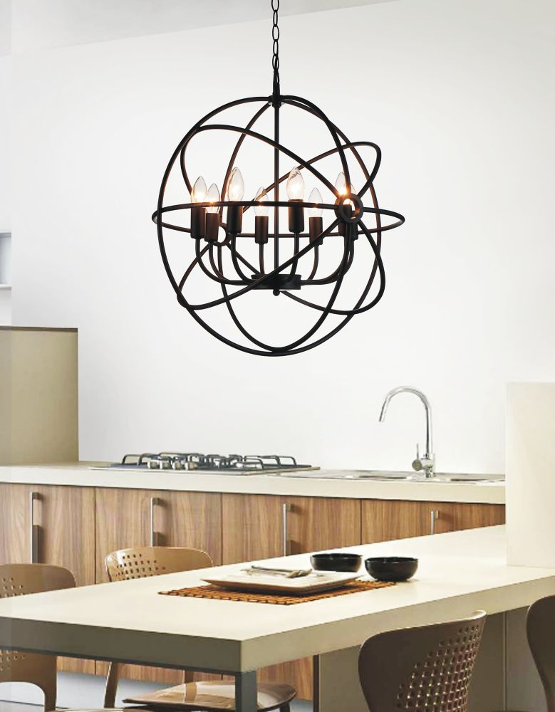 6 Light Chandelier With Brown Finish