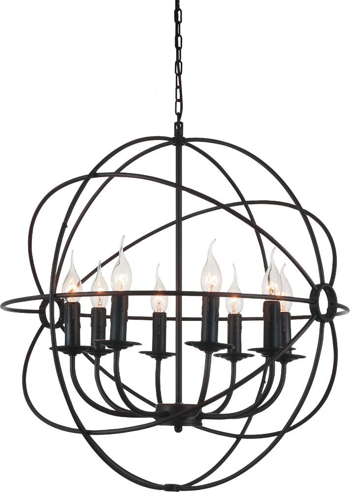 8 Light Chandelier With Brown Finish
