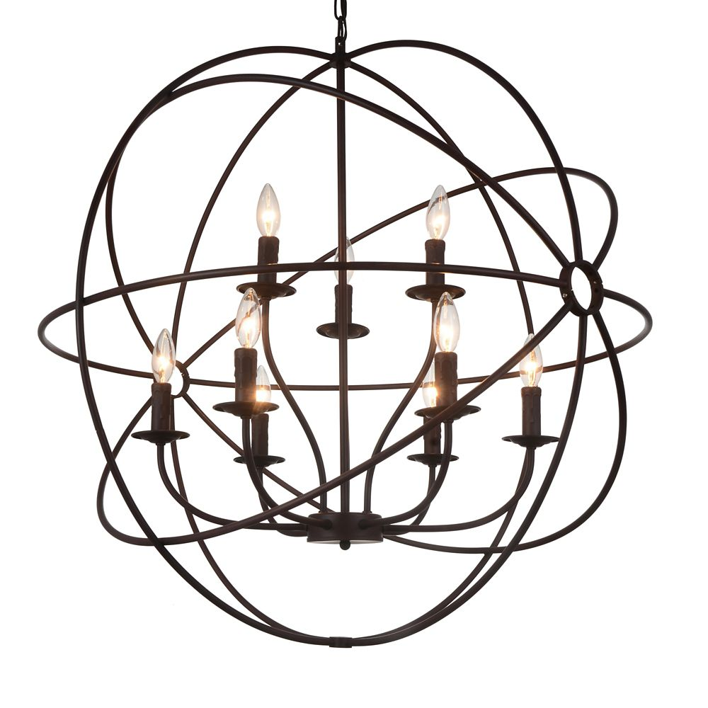 9 Light Chandelier With Brown Finish