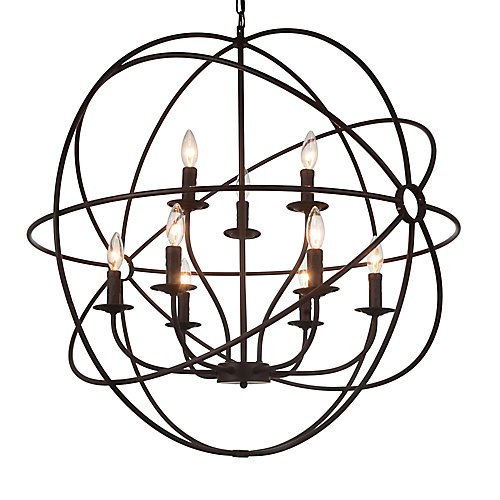 9-Light Chandelier in Brown Finish