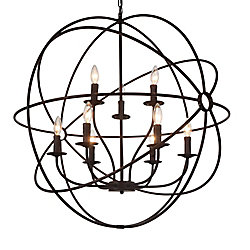 CWI Lighting 9-Light Chandelier in Brown Finish