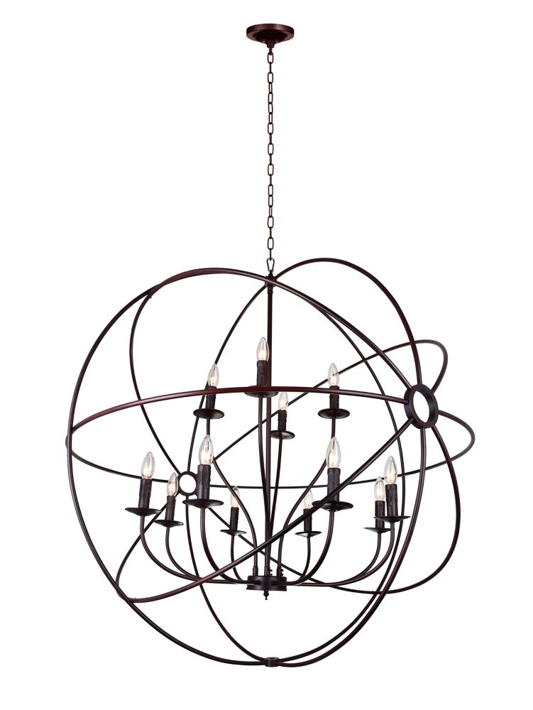 12 Light Chandelier With Brown Finish