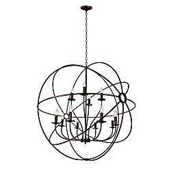 CWI Lighting 12 Light Chandelier With Brown Finish