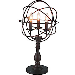 CWI Lighting 3 Light Table Lamp With Brown Finish