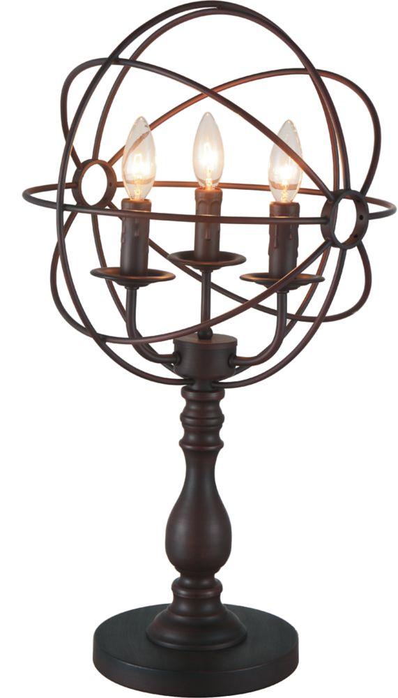 Lampe de table à 3 luminaires au fini marron
