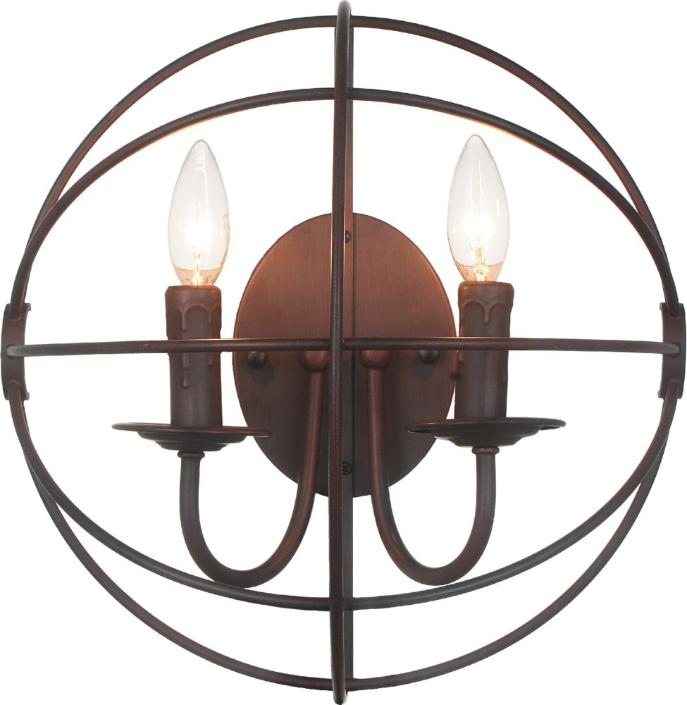 2 Light Wall Sconce With Brown Finish
