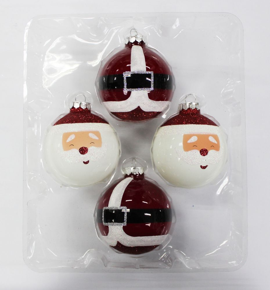 3.25 Inch Glass Ornaments (Santa & Suit) 4pk