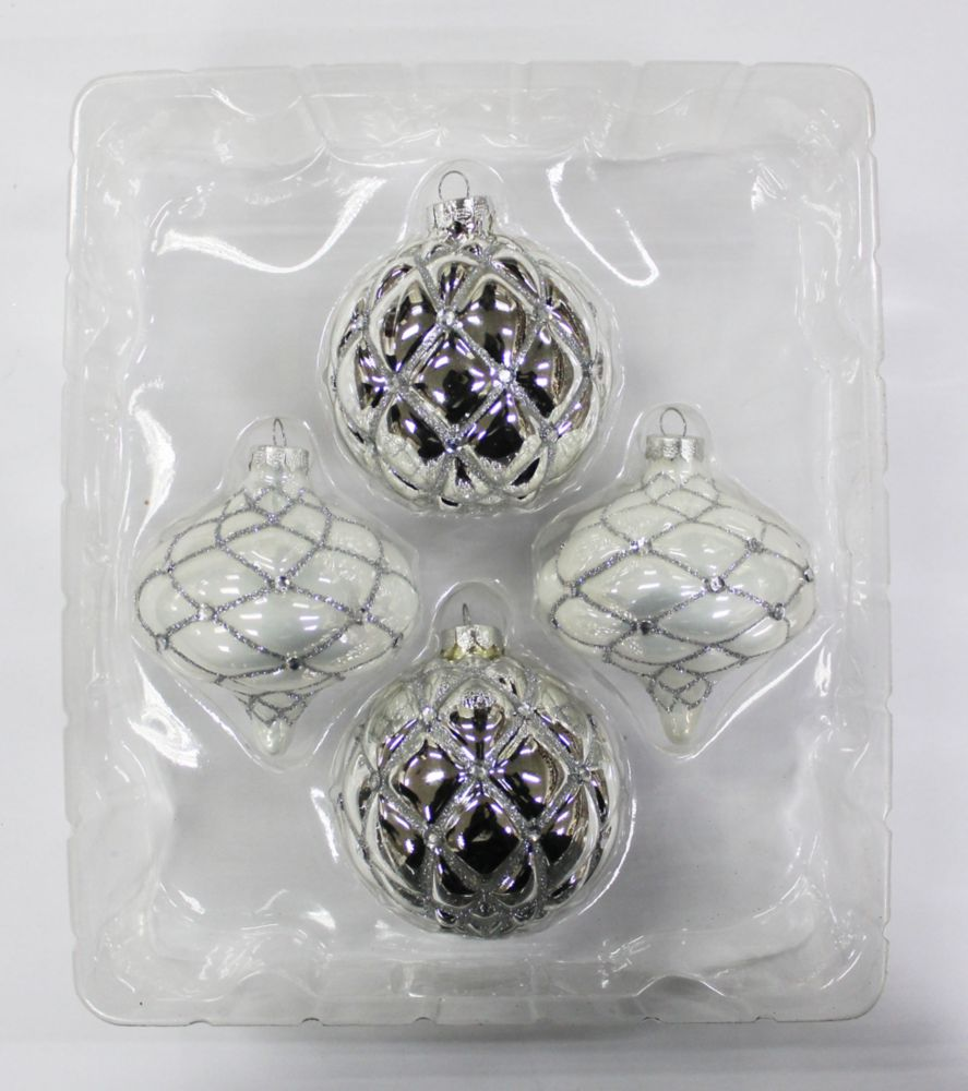 WW Silver & White Glass Ornament Set 4pk