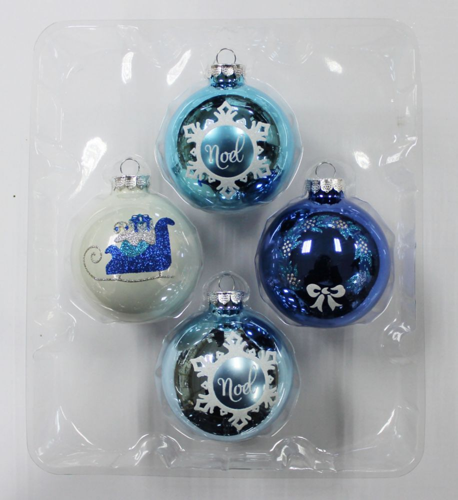 3.25 Inch Rounds (Sleigh, Noel And Wreath) 4pk