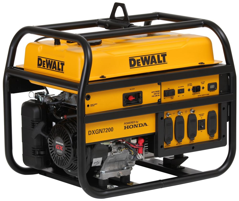 DEWALT 7,200W Gasoline Powered Electric/Manual Start Portable Generator with Honda Engine