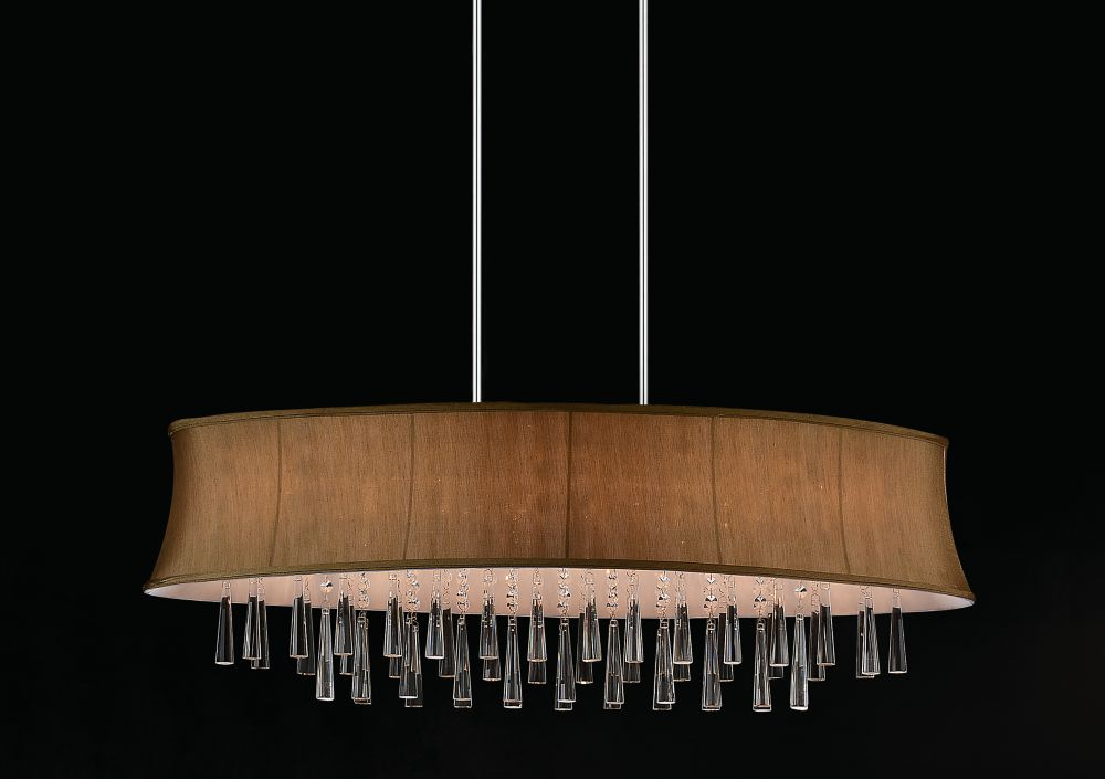8 Light Oval Pendent With Brown Shade