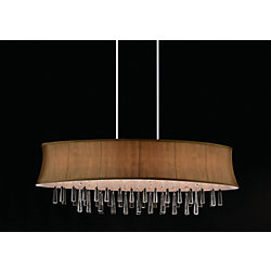 CWI Lighting Suspension ovale à 8 lampes avec abat-jour marron
