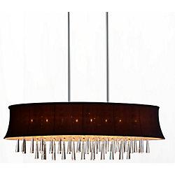 CWI Lighting Suspension ovale à 8 lampes avec abat-jour violet foncé