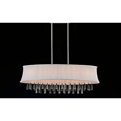 8 Light Oval Pendent With Off White Shade