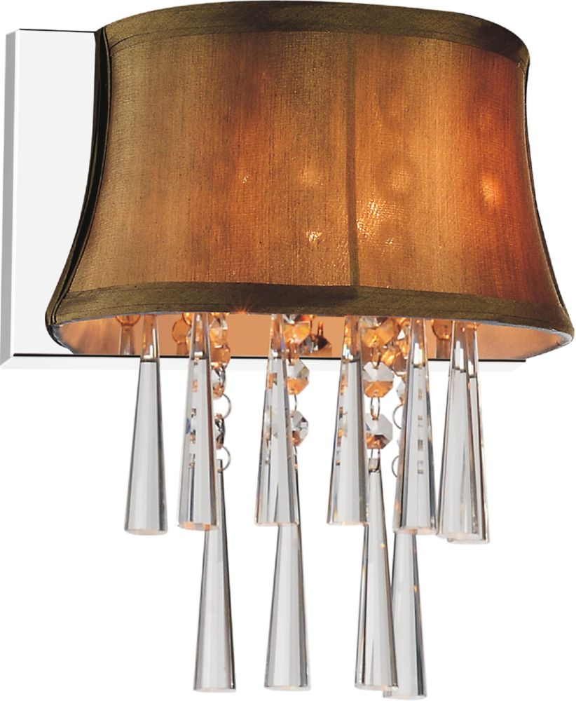1 Light Wall Sconce With Brown Shade