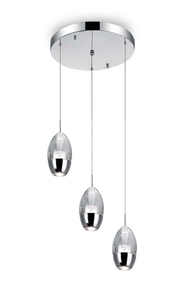 Perrier 10 inch 3 Light Mini Pendant with Chrome Finish