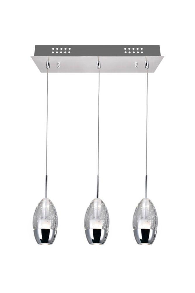 Suspension à 3 lampes avec base rectangulaire chromée