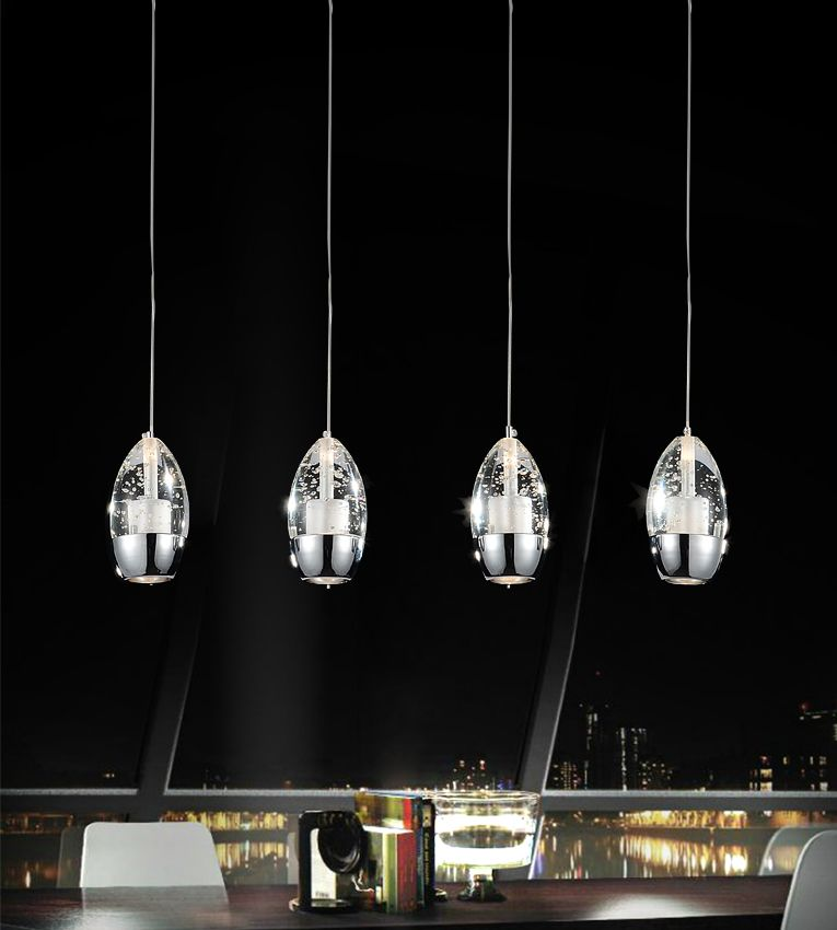 4 Light Chandelier With Chrome Rectangle Base
