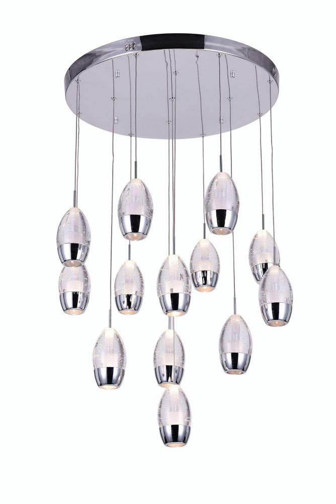 CWI Lighting 13 Light Chandelier With Chrome Round Base