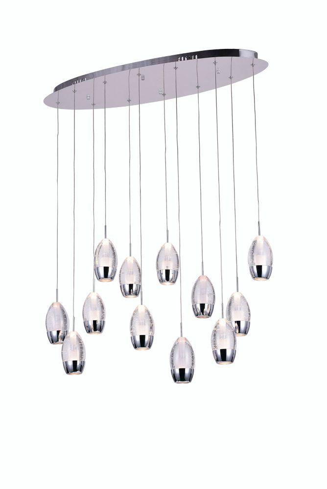 Lustre à 12 lampes avec base ovale chromée