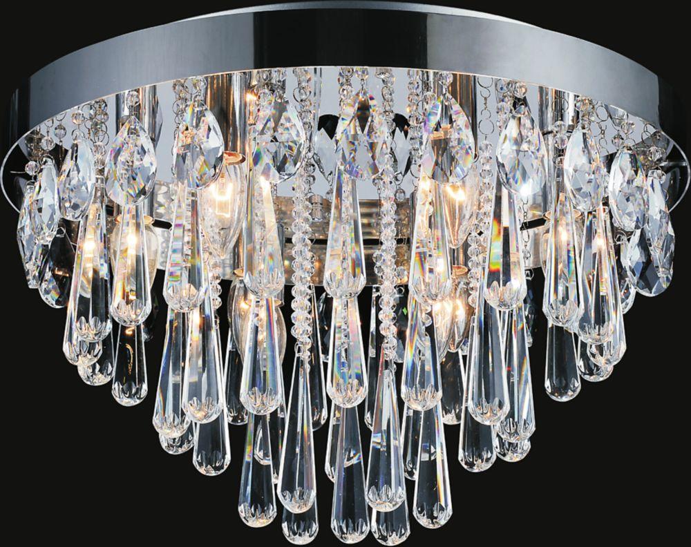 Plafonnier à 8 lampes orné de cristaux