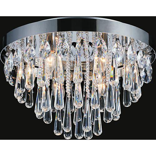 CWI Lighting Plafonnier à 8 lampes orné de cristaux