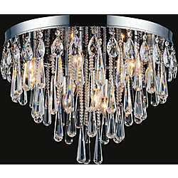 10 Light Flush Mount With Crystals