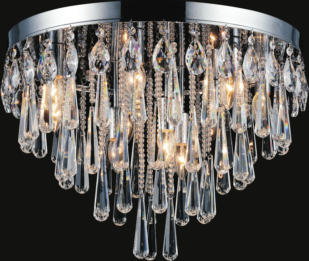 Plafonnier à 10 lampes orné de cristaux