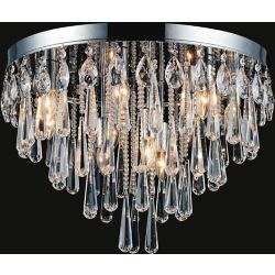 CWI Lighting 10 Light Flush Mount With Crystals