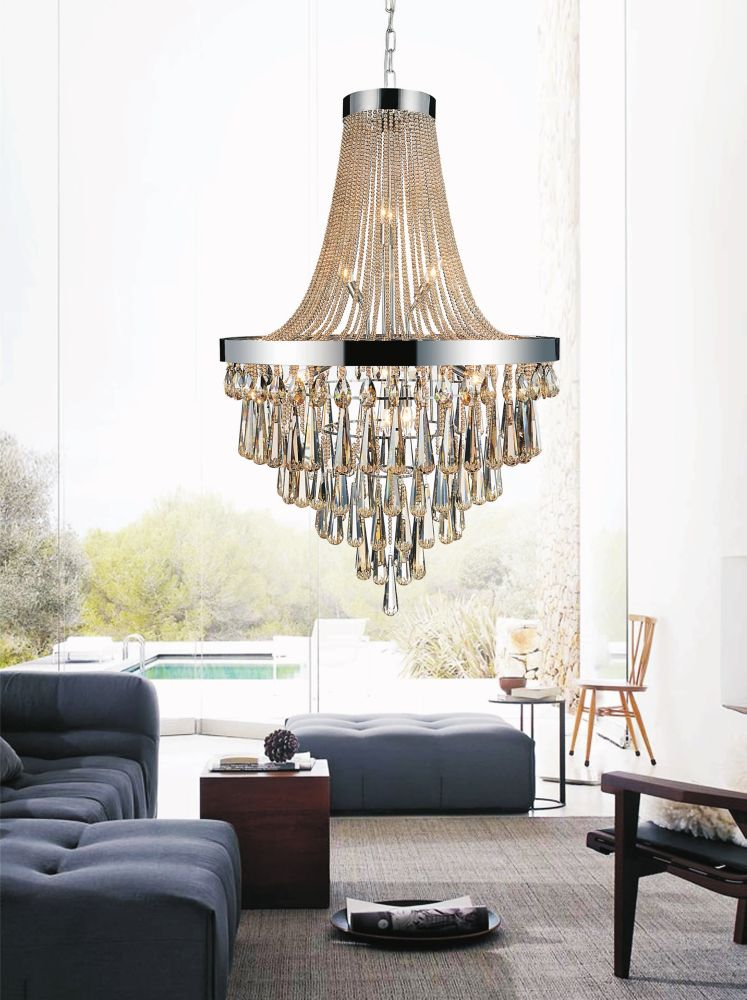 17 Light Chandelier With Cognac Crystals