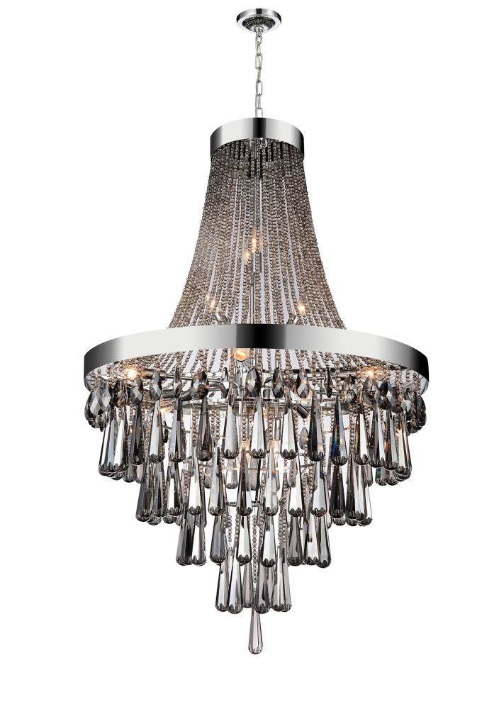 17 Light Chandelier With Smoke Crystals