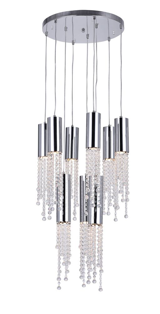 9 Light Chandelier With Chrome Round Base