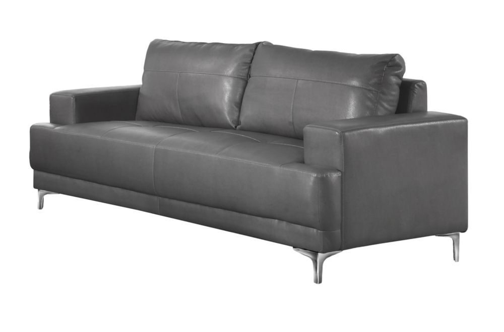 Sofa - Charcoal Grey Bonded Leather
