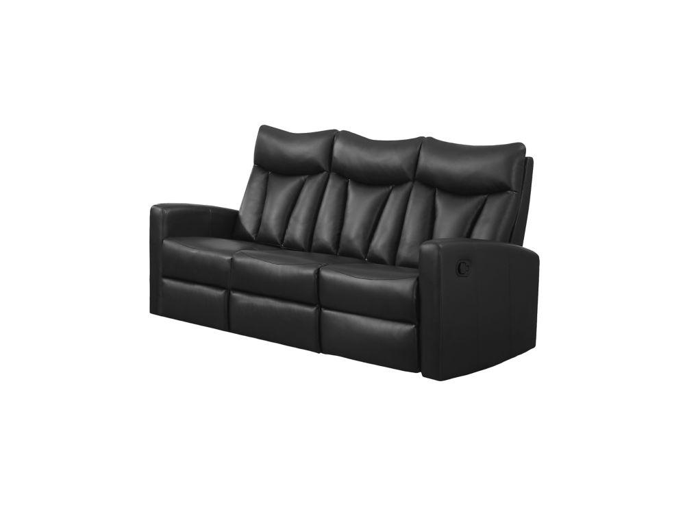 Reclining - BlackBonded Leather Sofa