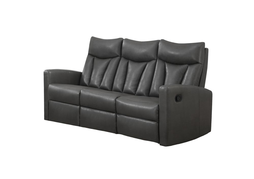 Reclining - Grey Bonded Leather Sofa