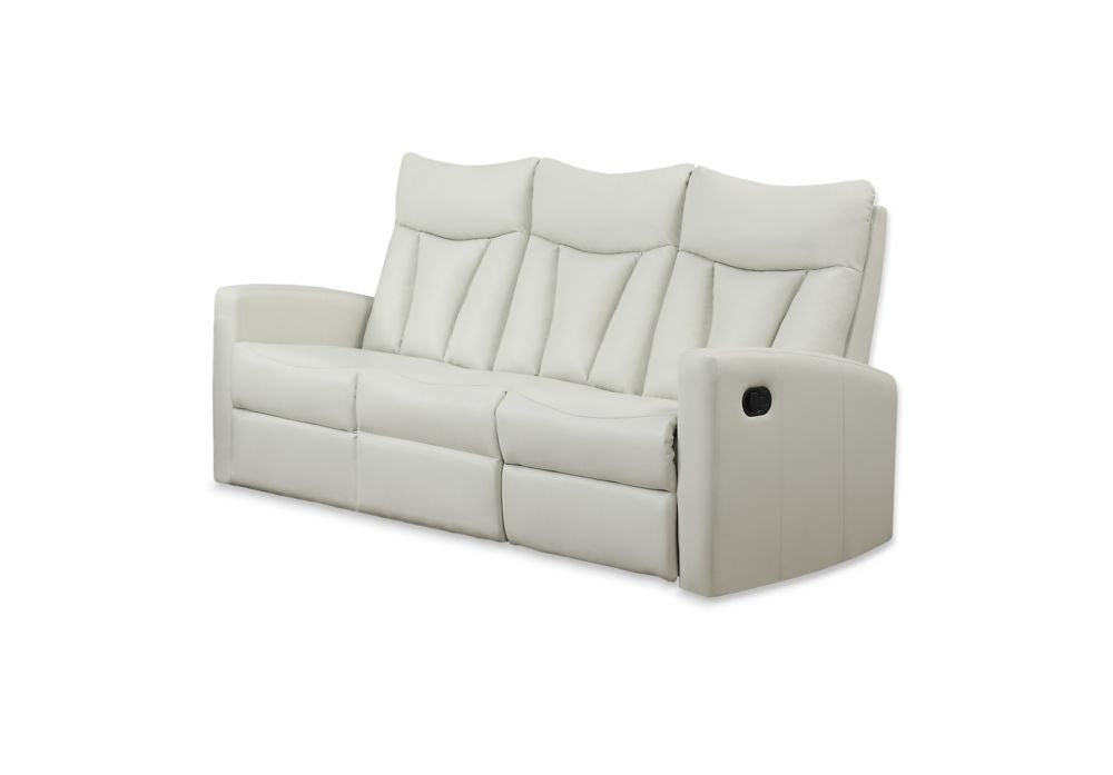Reclining - Ivory Bonded Leather Sofa