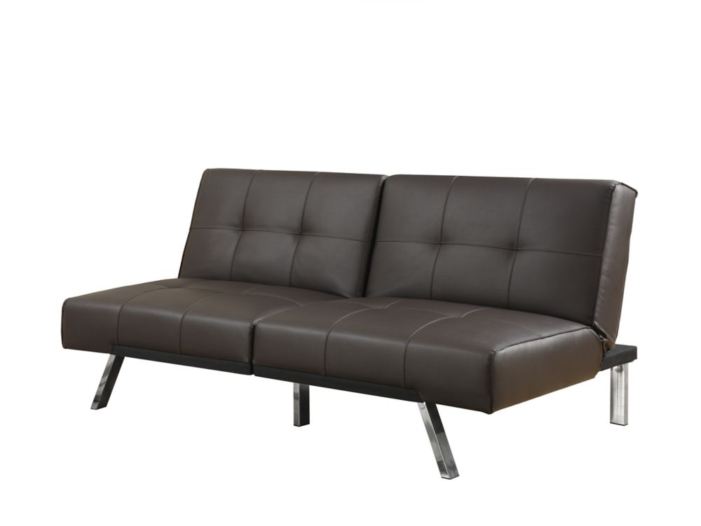 Futon - Split Back Click Clack / DARK Brown Leather-Look