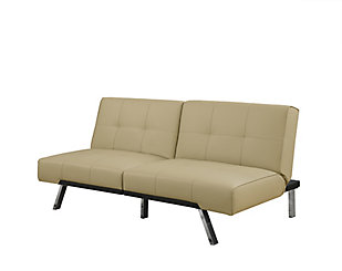 Monarch Specialties Futon Split Back Click Clack Taupe Leather Look The Home Depot Canada