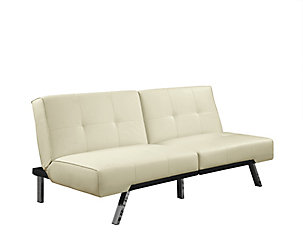 Monarch Specialties Futon Split Back Click Clack Ivory Leather Look The Home Depot Canada