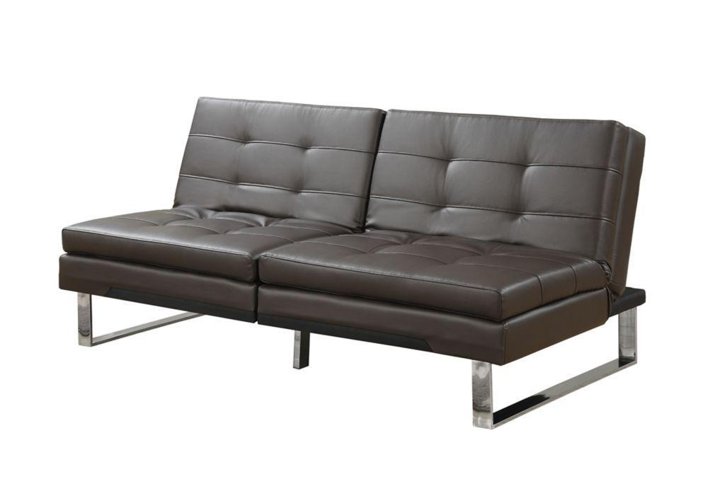 Futon - Split Back Click Clack / DARK Brown Leather-Look