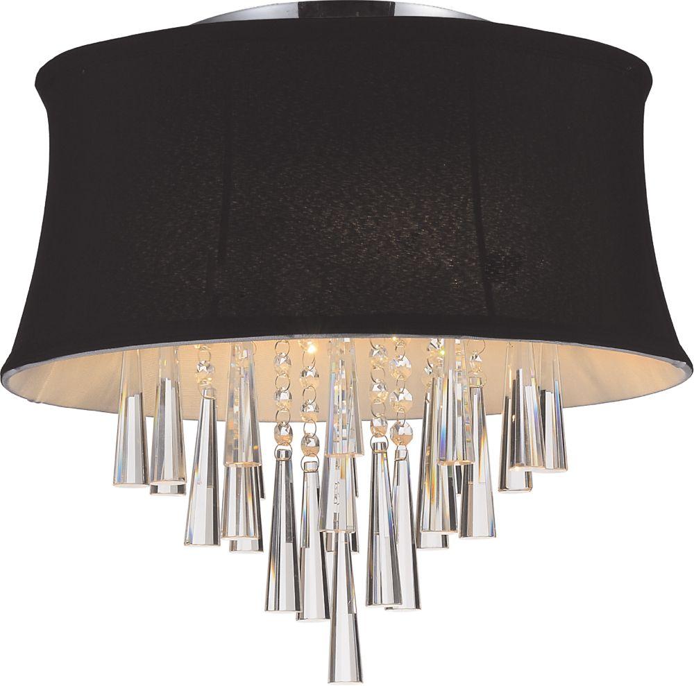 Plafonnier à 4 lampes avec abat-jour noir