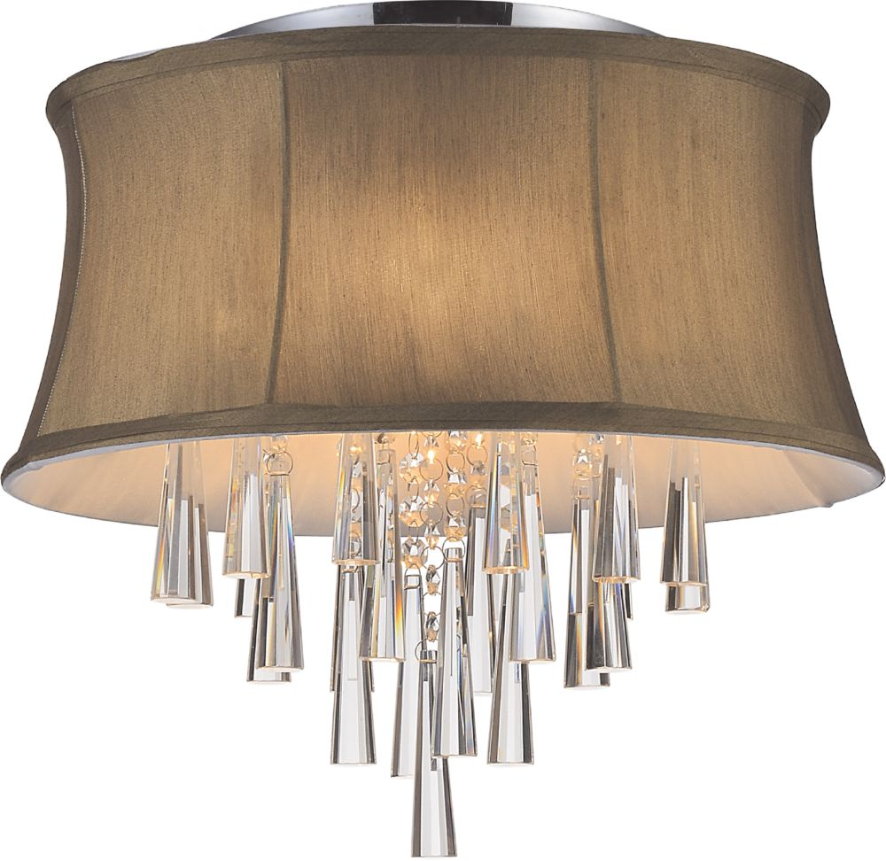 4 Light Flush Mount With Brown Shade