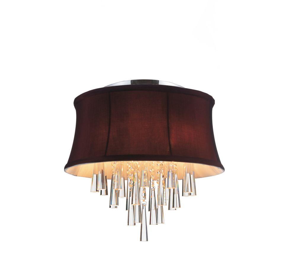 CWI Lighting Plafonnier à 4 lampes avec abat-jour violet foncé
