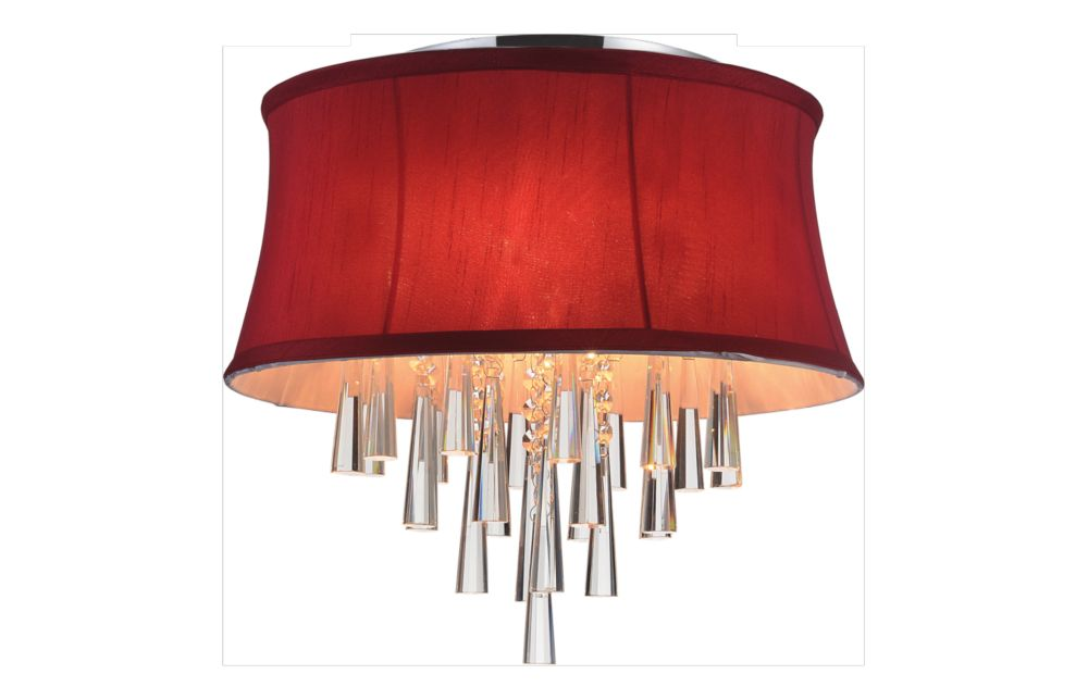 Plafonnier à 4 lampes avec abat-jour rouge