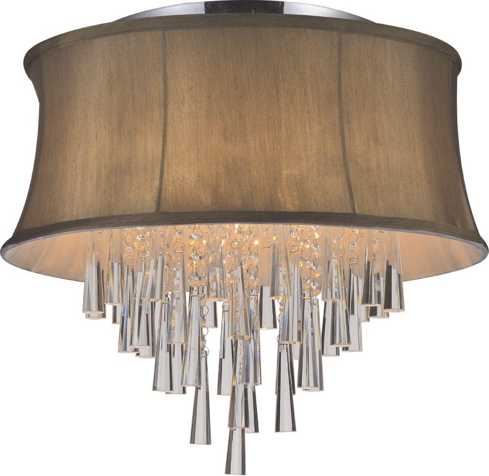 Plafonnier à 6 lampes avec abat-jour marron