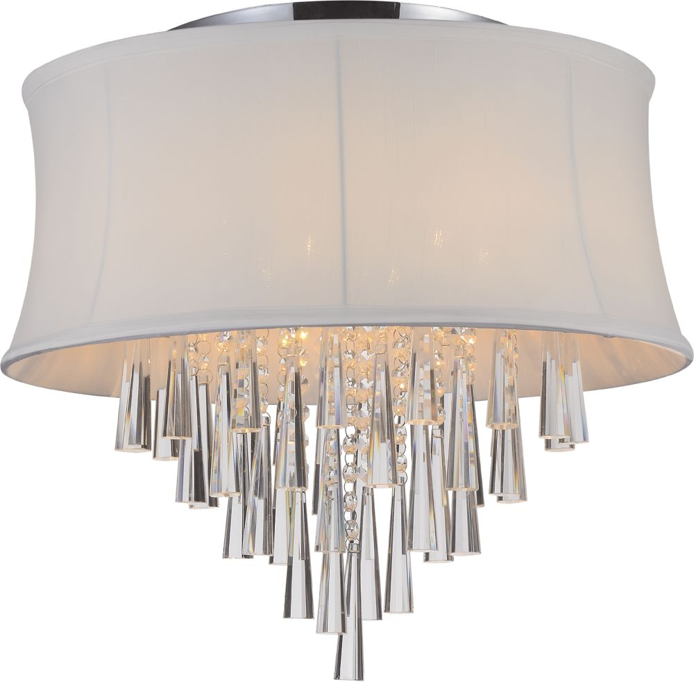 CWI Lighting 6 Light Flush Mount With Off White Shade