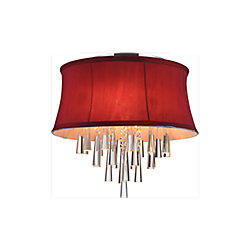 CWI Lighting 8 Light Flush Mount With Red Shade